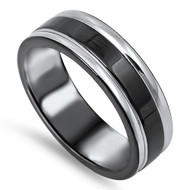 Double Edge Linings Black Band Ring Stainless Steel