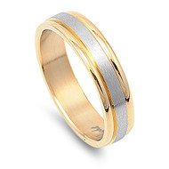 Two Toned Yellow Gold-Tone Plated Band Ring Stainless Steel