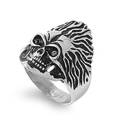 Angry Skull Biker Ring Stainless Steel