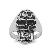 Fire Skull Biker Ring Stainless Steel