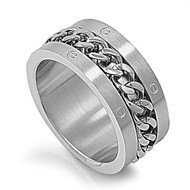 Braided Chain Row Ring Stainless Steel
