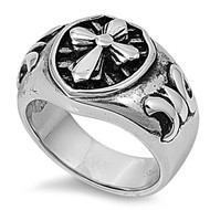 Immaculate Shield Cross Biker Ring Stainless Steel