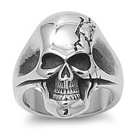 Cracked Head Skull Biker Ring Stainless Steel