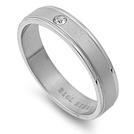 Knife Edges Solitaire Cubic Zirconia Ring Stainless Steel