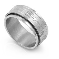 Laser Etched Spinner Ring Stainless Steel