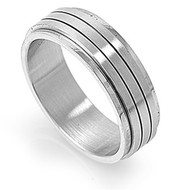 Spinner Twin Rows Ring Stainless Steel