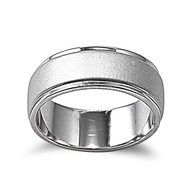 High Polished Edges Matte Center Ring Rhodium Plated Brass