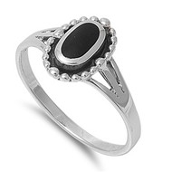 Beaded Sides Oval Simulated Onyx Stone Ring Sterling Silver 925