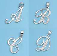 "Classic Script ""A to Z"" Initial Cubic Zirconia Pendant Sterling Silver 20MM"