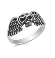 Evil Wings Skull Ring Sterling Silver 925