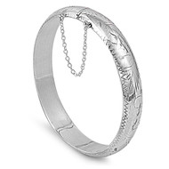 Oval Shape Engraving Design 12MM Bangle Bracelet with Safety Chain Sterling Silver 60 X 65MM