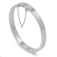Rectangle tube 7MM Bangle Bracelet with Safety Chain 55 X 60MM Sterling Silver
