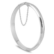 Round 7MM Bangle Bracelet with Safety Chain 60MM Sterling Silver