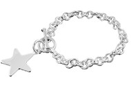 """Sterling Silver Designer Circle Link Chains Star 7.5"""" Designer Charm Bracelet"""