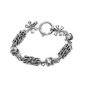 "Skull Links 8"" Designer Charm Bracelet In Sterling Silver"