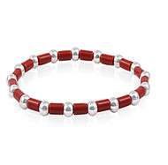 "Beads & Red Links Fusion 7"" Charm Bracelet Sterling Silver"