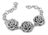 "Tres Rosas 8"" Charm Bracelet Sterling Silver"