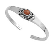 Sterling Silver Simulated Coral Fashion Bangle 13MM