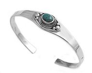 Sterling Silver Simulated Turquoise Fashion Bangle 13MM