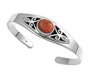 Sterling Silver Simulated Coral Fashion Bangle 16MM