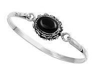 Sterling Silver Simulated Onyx Fashion Bangle 16MM