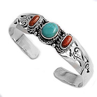 Sterling Silver Simulated Turquoise & Simulated Coral Designer Bangle Jewelry
