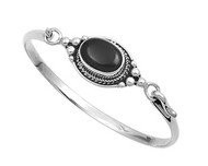 Sterling Silver Simulated Onyx Fashion Bangle