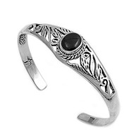 Sterling Silver Simulated Onyx Rope Bazel Bangle 8MM