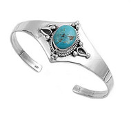 Sterling Silver Simulated Turquoise Fashion Bangle 27MM