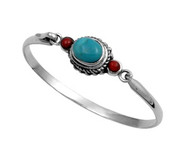 Simulated Turquoise & Simulated Carnelian Fashion Bangle Sterling Silver 14MM