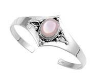 Sterling Silver Cultured Simulated Mother Of Pearl Designer Bangle Jewelry
