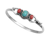 Sterling Silver Simulated Turquoise Stone Bangle 14MM