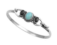 Simulated Turquoise Sided By Two Simulated Onyx Stones Bangle Sterling Silver 28MM