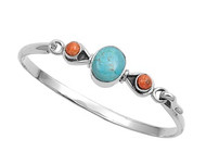Sterling Silver Simulated Turquoise & Simulated Coral Fashion Bangle 13MM