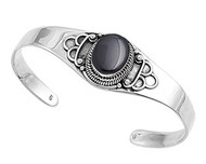 21MM Sterling Silver Black Simulated Onyx Designer Bangle Jewelry