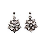 4 Clear Cubic Zirconia Stones Flower Earrings Sterling Silver 23MM