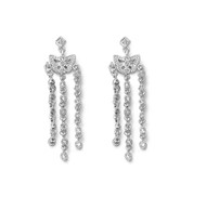 Clear Cubic Zirconia Dangle Butterfly Earrings Sterling Silver