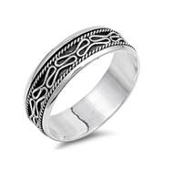 Line Patterns Spinner Ring Sterling Silver 925