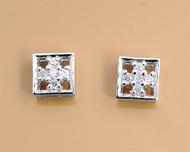 Cubic Zirconia Fashion Earrings Sterling Silver 6MM