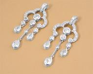 Cubic Zirconia Fashion Earrings Sterling Silver 47MM