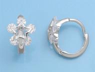5 Clear Cubic Zirconia Stones Star Earrings Sterling Silver 13MM