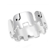Lucky Elephants Sterling Silver 925 Ring
