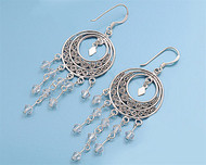 Hanging Clear Simulated Crystal Cubic Zirconia Round Design Earrings Sterling Silver 58MM