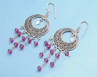 Hanging Ruby Simulated Crystal Cubic Zirconia Round Design Earrings Sterling Silver 58MM