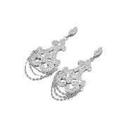 Cubic Zirconia Fleur De Lis Chandelier Design Earrings Sterling Silver 39MM