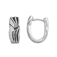 Cubic Zirconia Black & Silver Swirl Earrings Sterling Silver 18MM