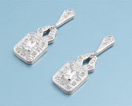 Cubic Zirconia Fashion Earrings Sterling Silver 30MM
