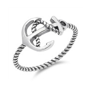 Sideway Columbus Anchor Oxidized Ring Sterling Silver 925
