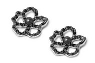 Black Cubic Zirconia Out Lined Flower Earrings Sterling Silver 16MM