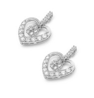 Cubic Zirconia Apple Heart Earrings Sterling Silver 22MM